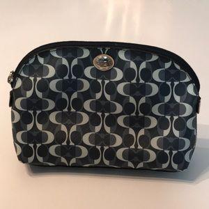 Blue COACH signature vinyl makeup bag purse